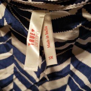 True Destiny Tops - Open Shoulder Blue White Blouse 2X NWOT